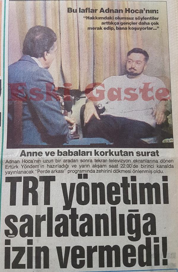 TRT Adnan Oktar şarlatanlığına izin vermedi