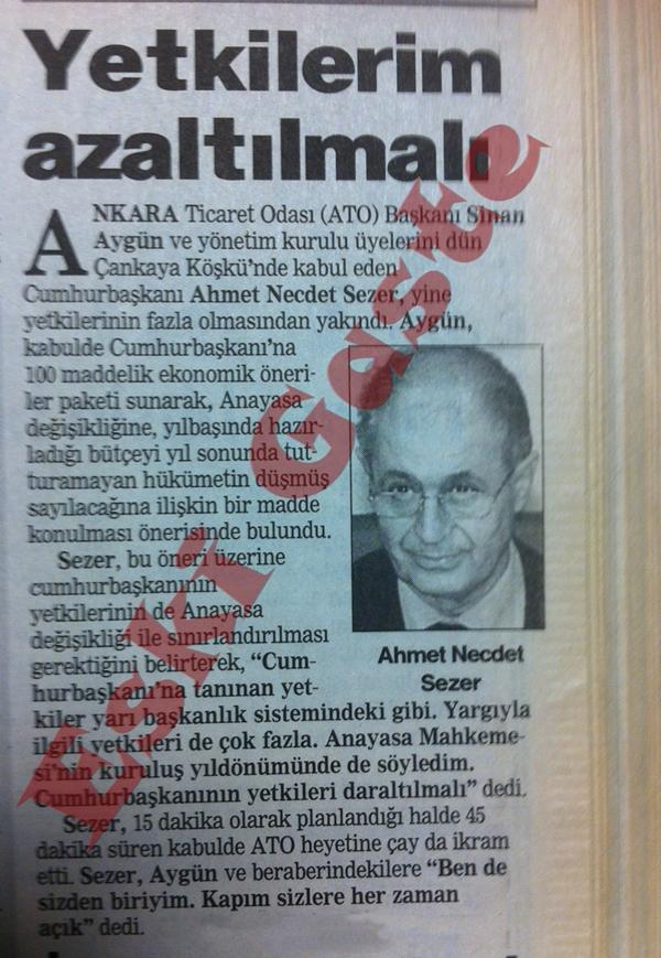 Ahmet Necdet Sezer: Yetkilerim azaltılmalı