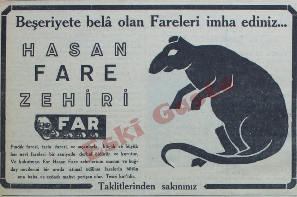 Beşeriyete bela olan fareleri imha ediniz