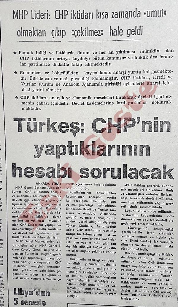 Alparslan Türkeş: CHP'nin yaptıklarının hesabı sorulacak