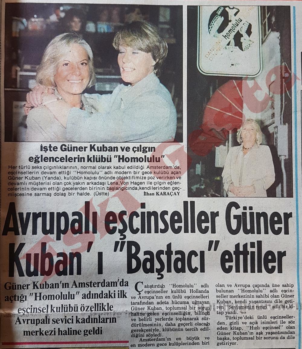 Avrupalı eşcinseller Güner Kuban'ı baştacı etti