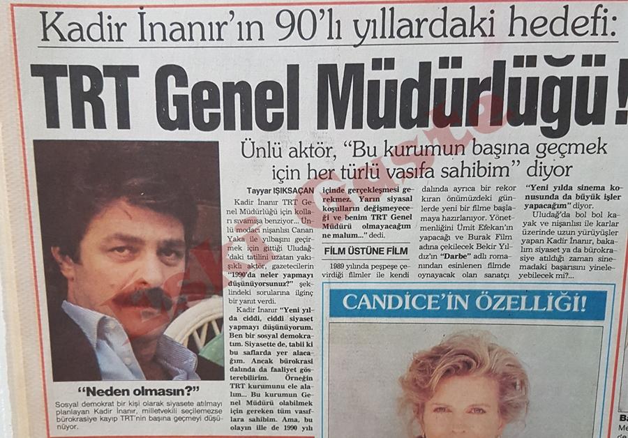 Kadir İnanır'ın hedefi TRT Genel Müdürlüğü