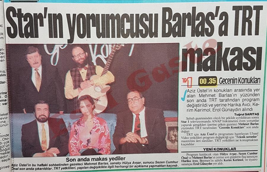 Star'ın yorumcusu Mehmet Barlas'a TRT makası