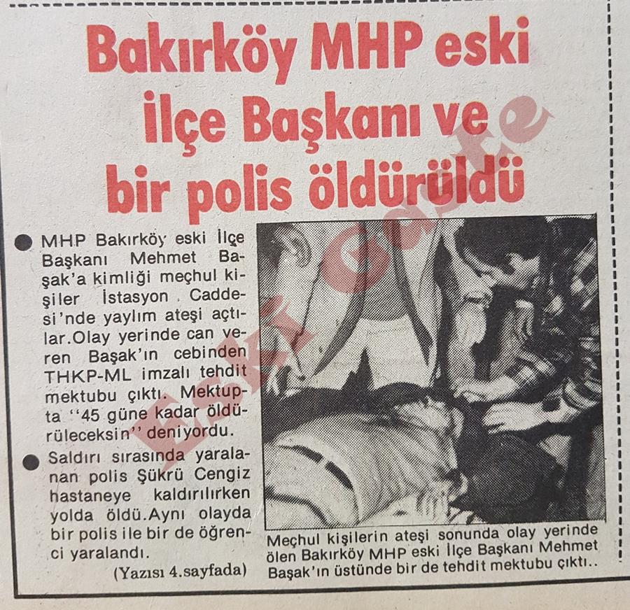 MHP'li Mehmet Başak öldürüldü
