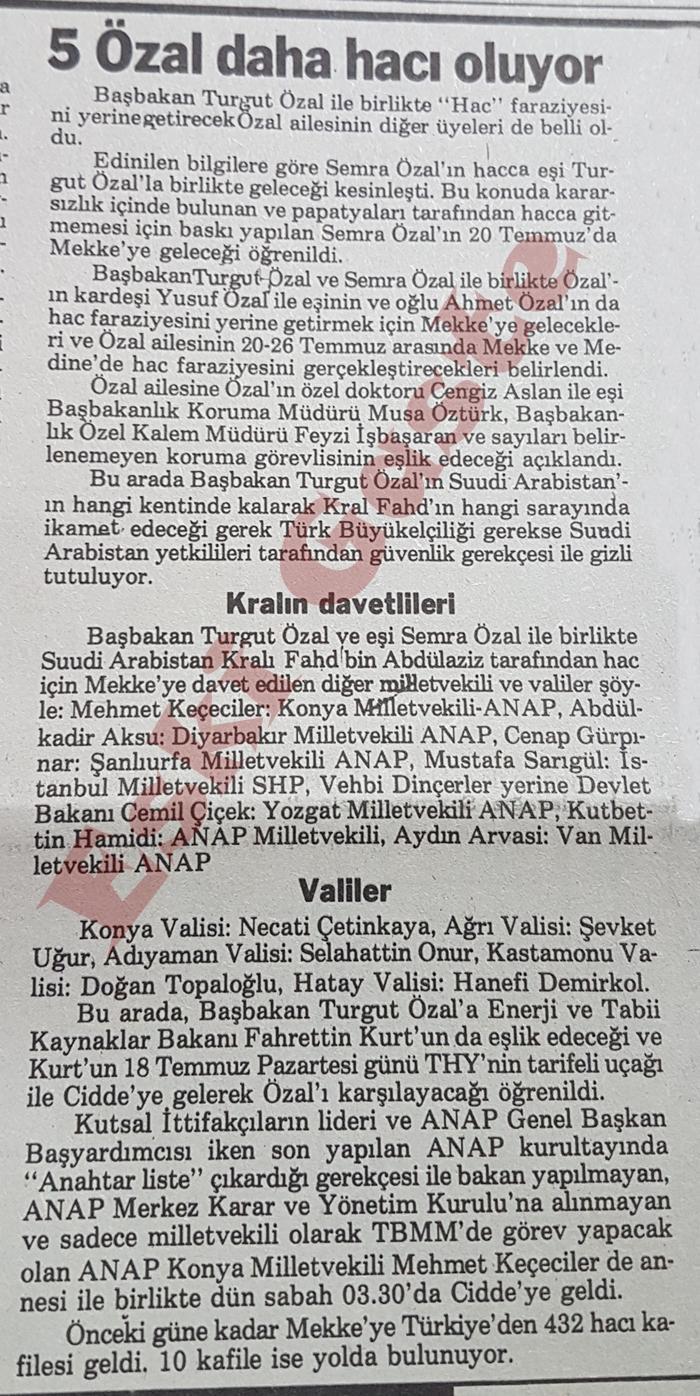 5 Özal daha hacı oluyor! Mustafa Sarıgül, Cemil Çiçek, Feyzi İşbaşaran