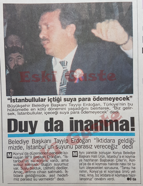 Recep Tayyip Erdoğan: İstanbul'un suyunu parasız vereceğiz