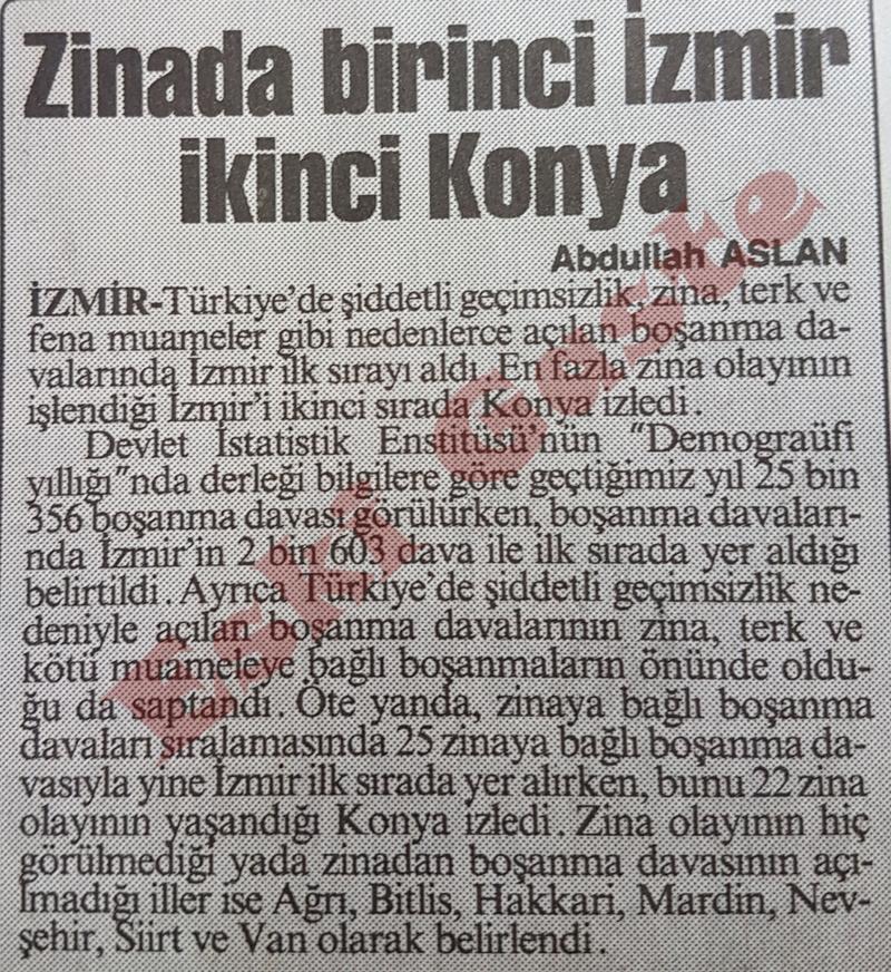 Zinada birinci İzmir ikinci Konya