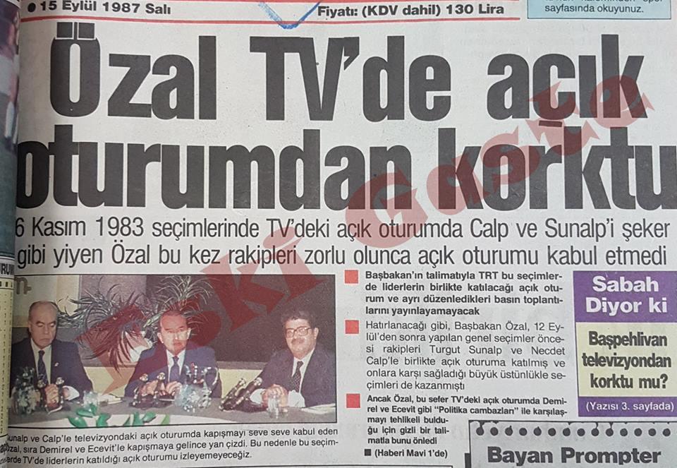 Turgut Özal TV'de açık oturumdan korktu