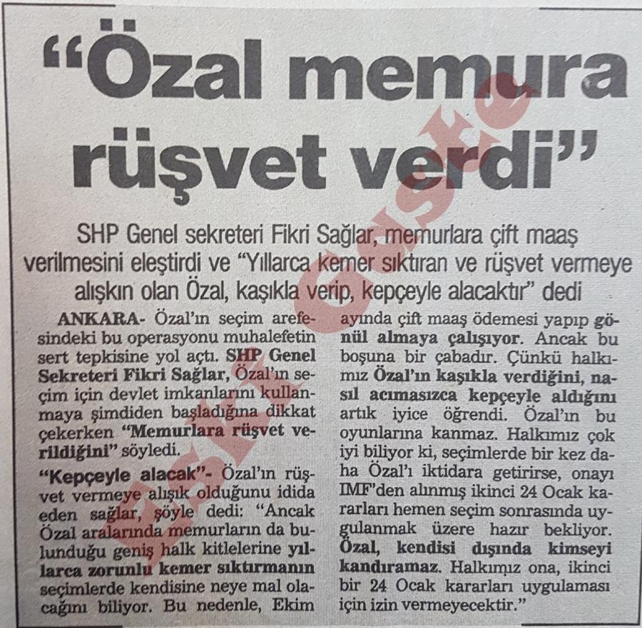 """1987 referandum sonuçları / """"Özal memura rüşvet verdi"""""""