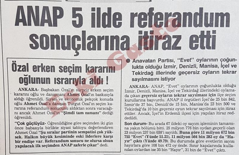1987 referandum sonuçları / ANAP 5 ilde sonuçlara itiraz etti