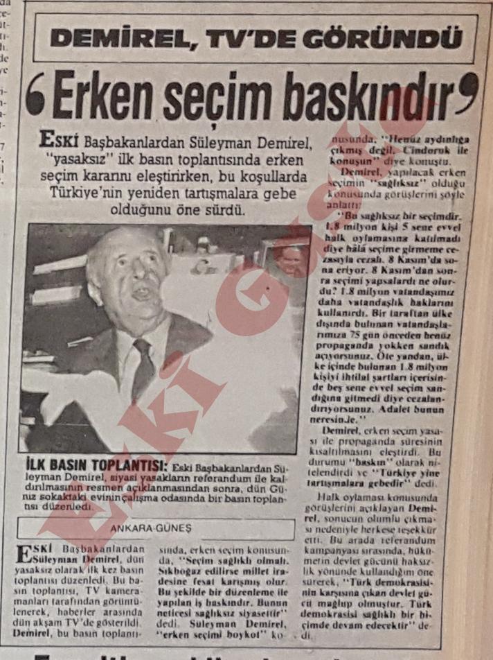 1987 referandum sonuçları / Demirel: Erken seçim baskındır