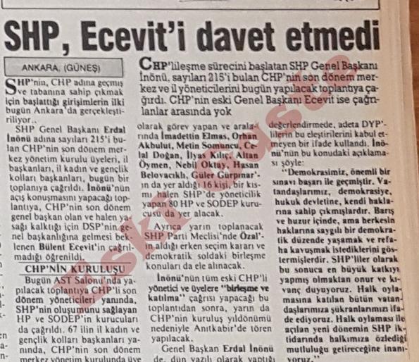 1987 referandum sonuçları / SHP Ecevit'i davet etmedi
