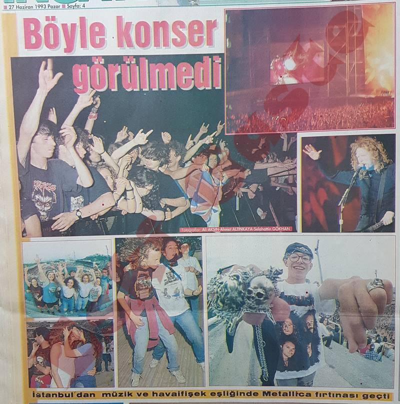 1993 Metallica İstanbul konseri ile ilgili haberler