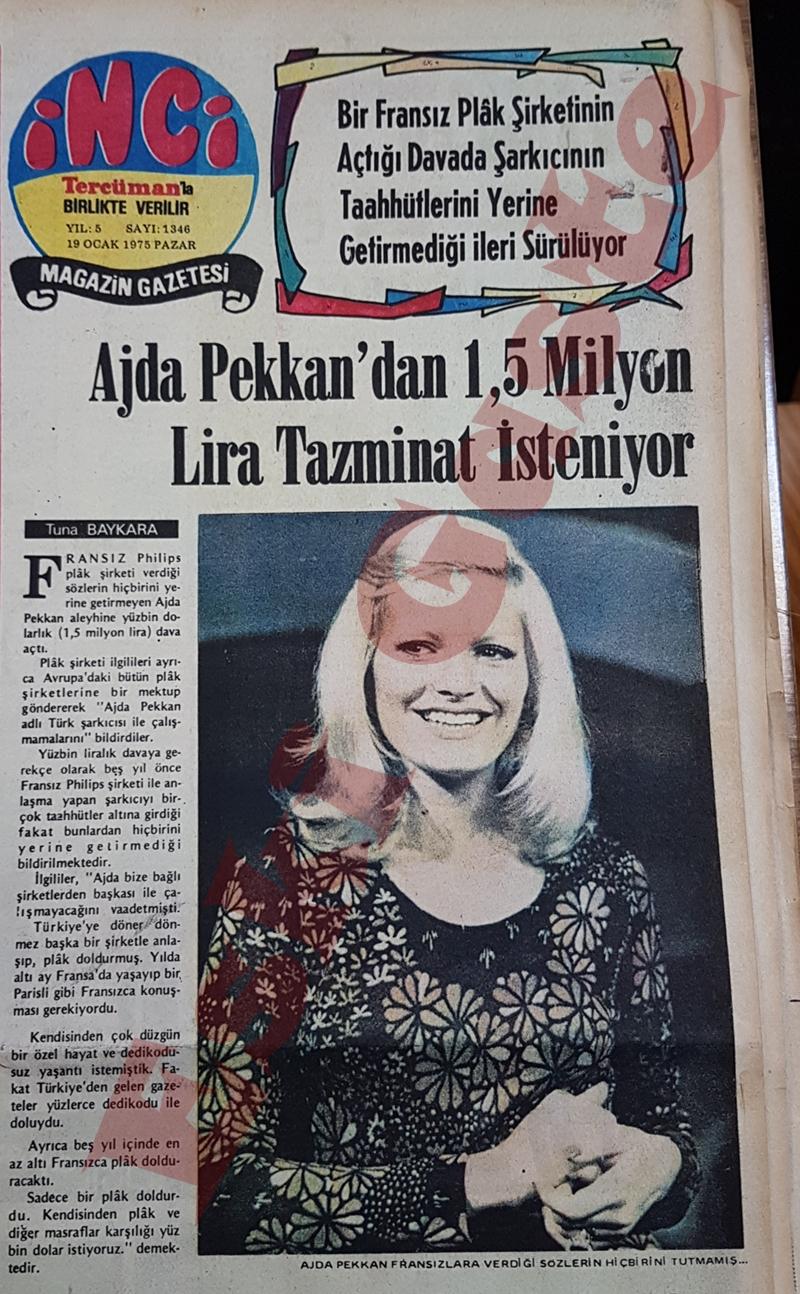 Ajda Pekkan'dan 1.5 milyon lira tazminat isteniyor
