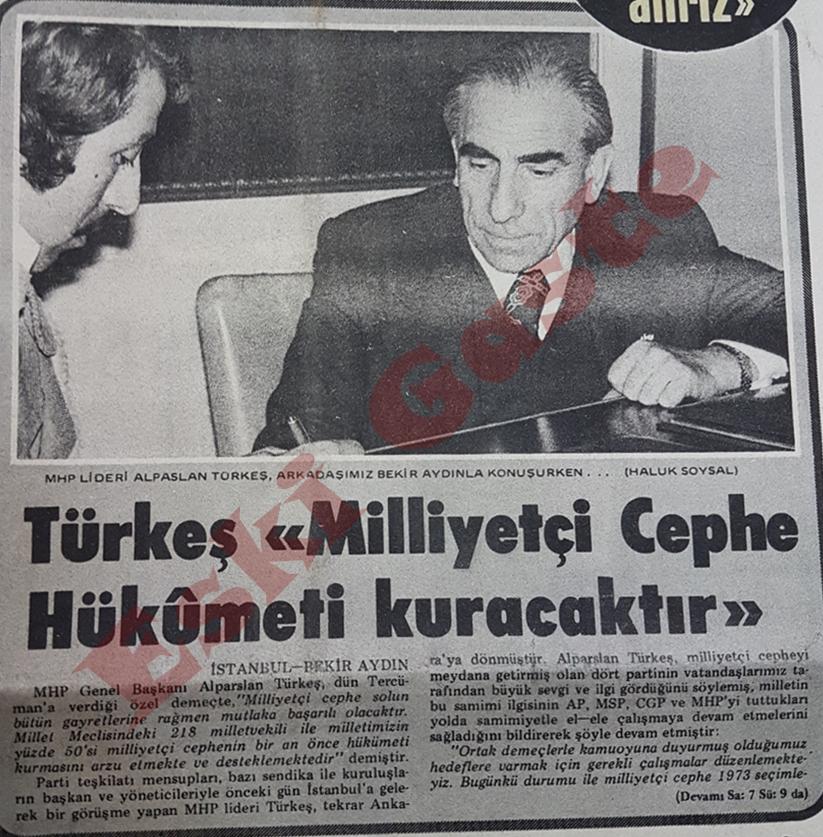 Alparslan Türkeş: Milliyetçi Cephe hükümeti kuracaktır