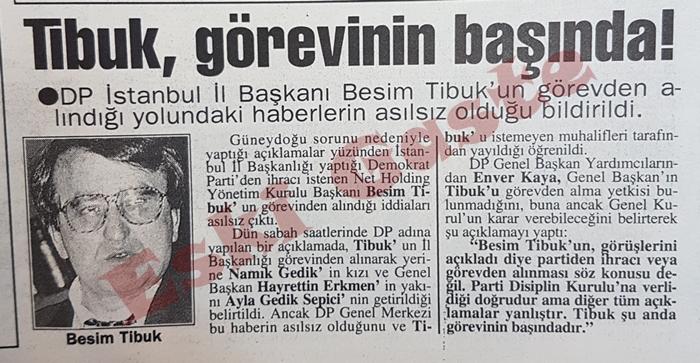 DP İstanbul İl Başkanı Besim Tibuk