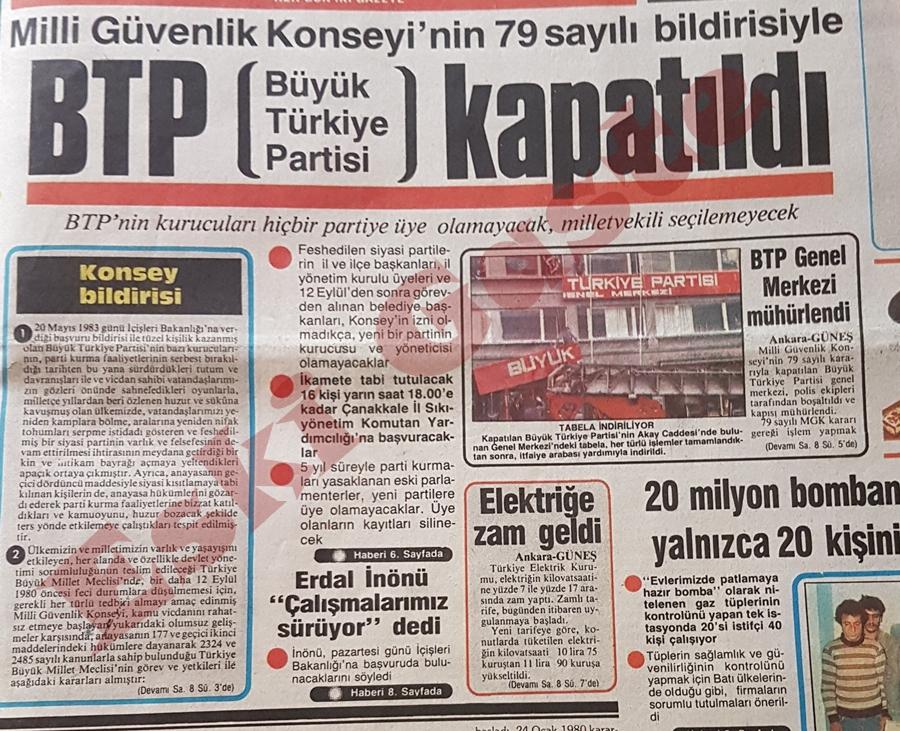 Büyük Türkiye Partisi (BTP) kapatıldı
