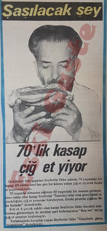 70'lik kasap çiğ et yiyor