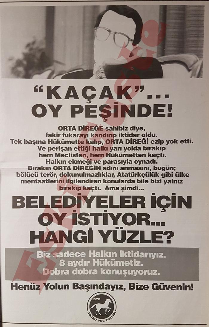 DYP reklamında Mesut Yılmaz'a sert suçlamalar