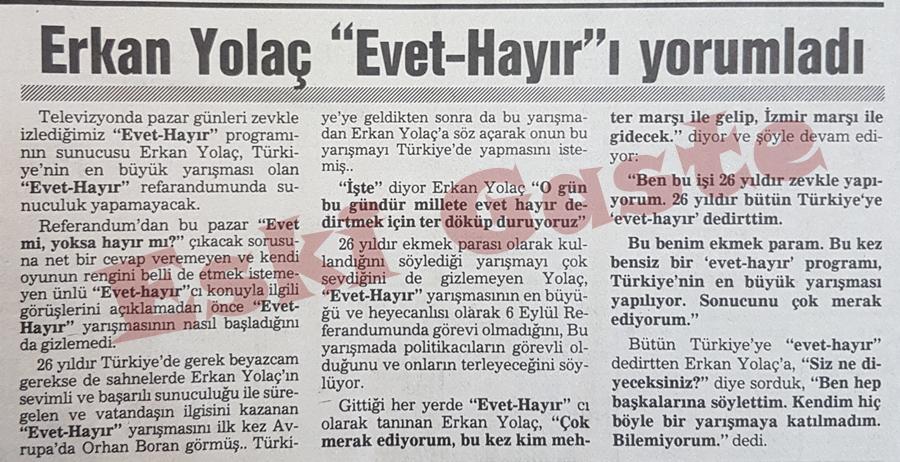 1987 Referandumu / Erkan Yolaç evet-hayır yorumu