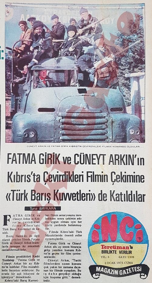 Fatma Girik ve Cüneyt Arkın'ın Kıbrıs'ta çevirdikleri film