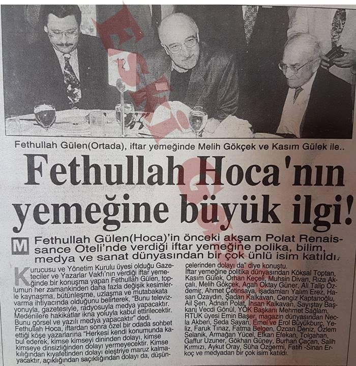 Melih Gökçek Fethullah Gülen'in iftar davetinde