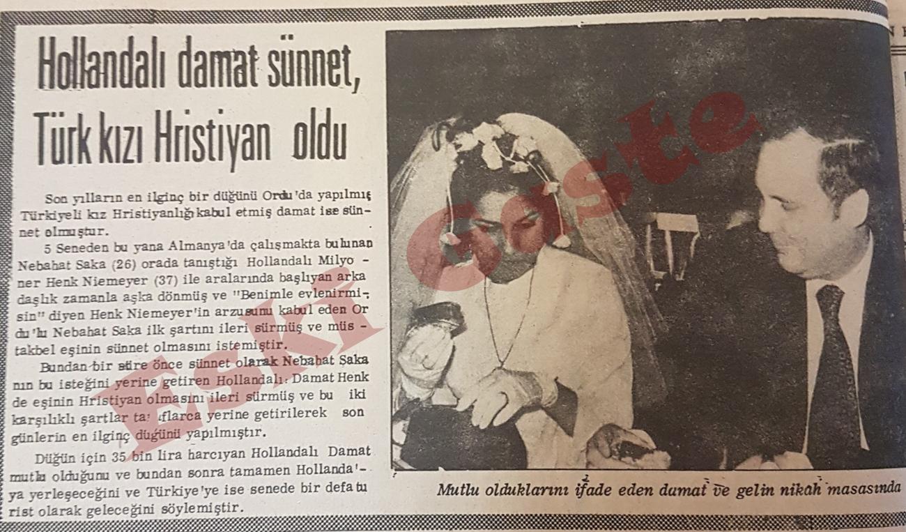 Hollandalı damat sünnet, Türk kızı Hristiyan oldu