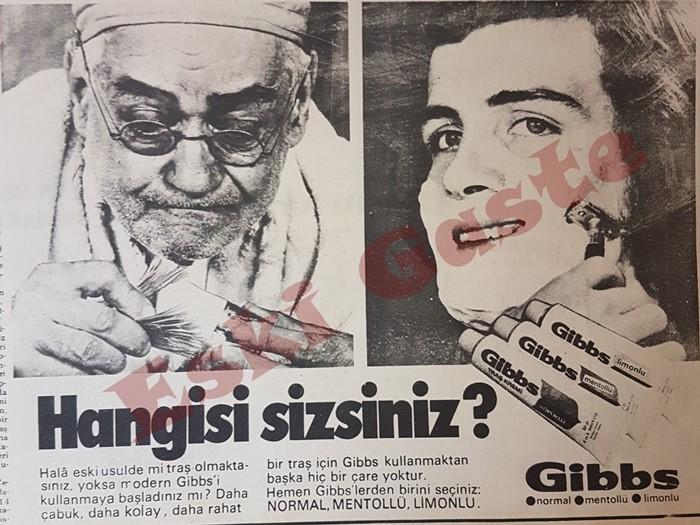 1970'ler gazetelerinde yayınlanan Gibbs reklamı