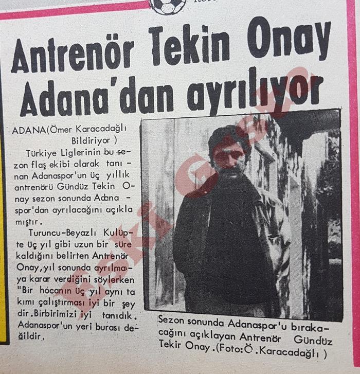 Gündüz Tekin Onay Adana'dan ayrılıyor