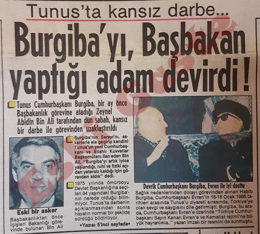 Habib Burgiba'yı Başbakan yaptığı Zeynel Abidin Bin Ali devirdi