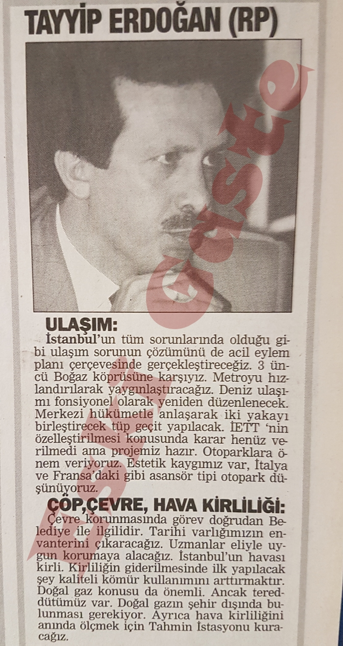 Recep Tayyip Erdoğan: Üçüncü köprüye karşıyız
