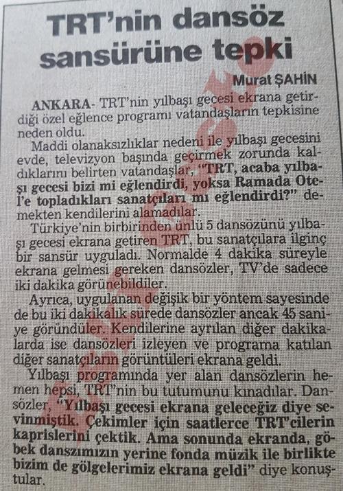 TRT'nin dansöz sansürüne tepki