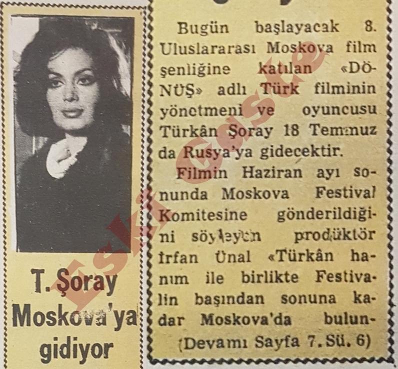 Türkan Şoray Moskova'ya gidiyor