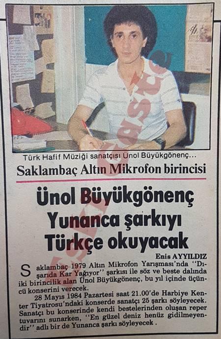 Ünol Büyükgönenç Yunanca şarkıyı Türkçe okuyacak