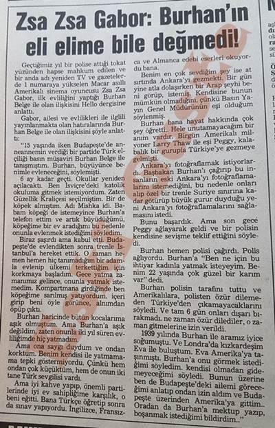 Zsa Zsa Gabor: Burhan'ın eli elime bile değmedi!