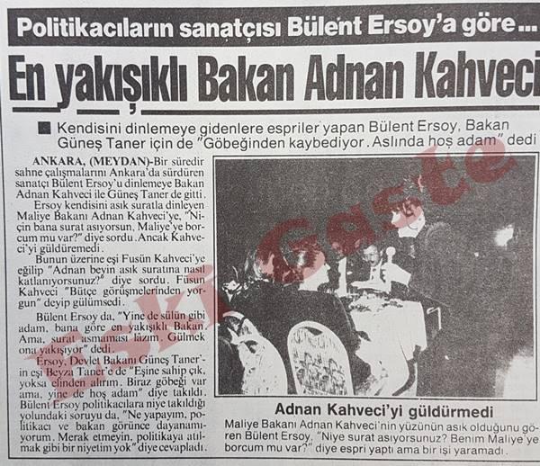 Bülent Ersoy'a göre en yakışıklı bakan Adnan Kahveci