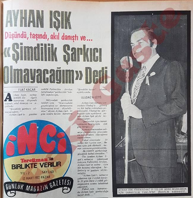 """Ayhan Işık """"Şimdilik şarkıcı olmayacağım"""" dedi"""