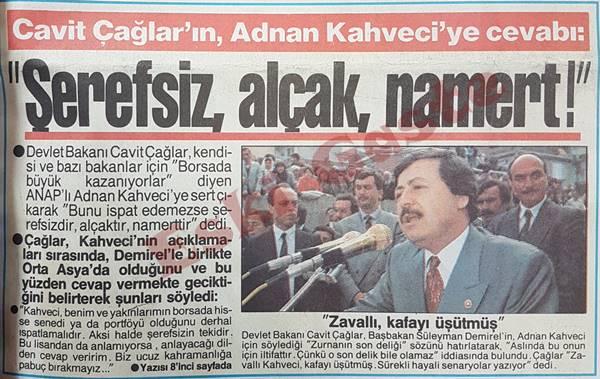 Cavit Çağlar'dan Adnan Kahveci'ye: Şerefsiz, alçak, namert