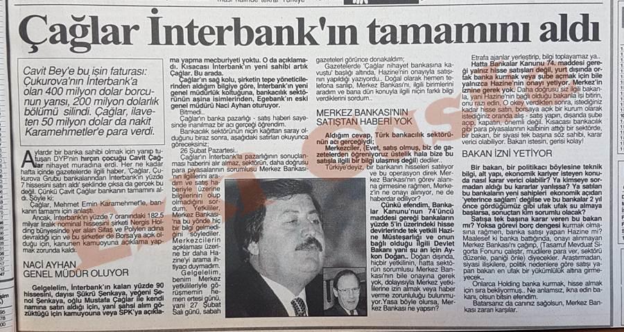 Cavit Çağlar İnterbank'ın tamamını aldı