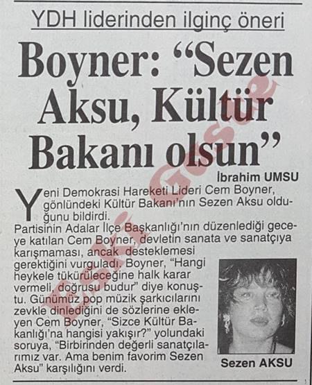 Cem Boyner: Sezen Aksu Kültür Bakanı olsun