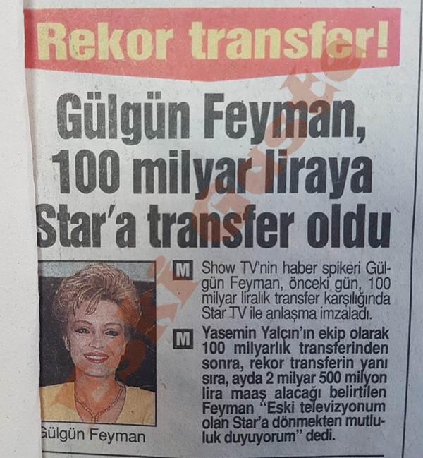 Gülgün Feyman Star'a transfer oldu