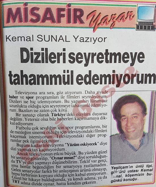 Kemal Sunal yazıyor: Dizileri seyretmeye tahammül edemiyorum