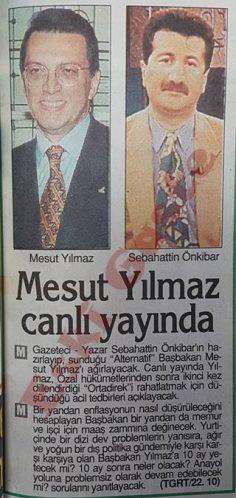 Mesut Yılmaz canlı yayında Sebahattin Önkibar'ın konuğu