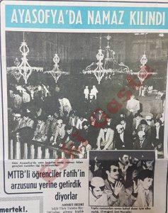 MTTB Ayasofya'da namaz kıldı