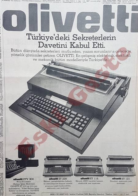 Olivetti yazı makinesi reklamı