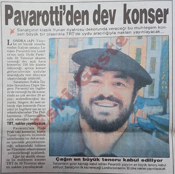 Pavarotti konserini TRT naklen yayınlayacak