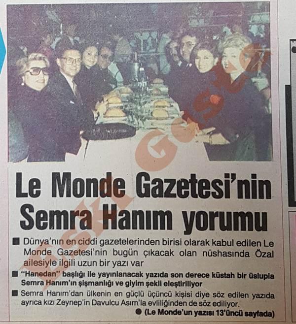Le Monde gazetesinin Semra Özal yorumu