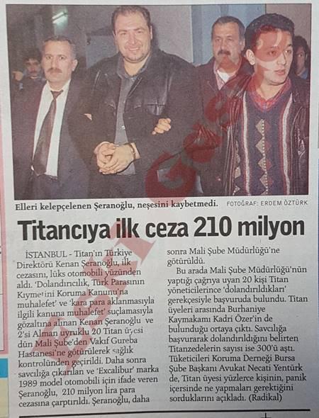 Titancı Kenan Şeranoğlu'na ilk ceza: 210 milyon