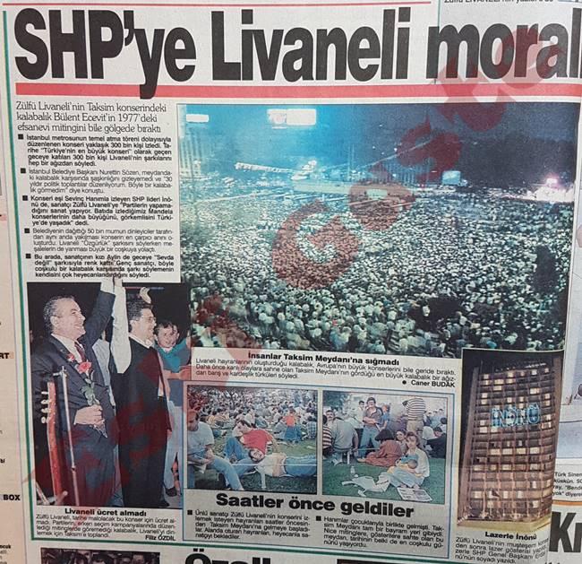Zülfü Livaneli Taksim konseri / SHP'ye Livaneli morali