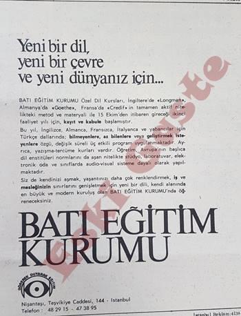 Batı Eğitim Kurumu reklamı